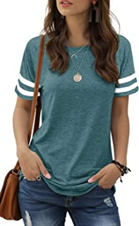 Sponsored Ad - Sieanear Womens T Shirts Short Sleeve Striped Color Block Leopard Casual Tops