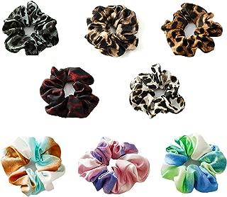 8 Pack Leopard Hair Scrunchies Soft Cloth Elastic Hair Bands Tie Dye Hair Scarf Ponytail Holder Scrunchy for Women Girls