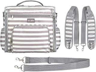 incarpo Stylish Diaper Bag Backpack Large Capacity Shoulder Bags Multifunction Travel Nappy Back Pack Waterproof for Mom Dad,White Stripe