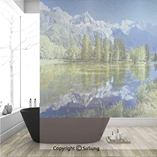 3D Decorative Privacy Window Films,Snowy Mountains Evergreen Spruce Reflected in Lake City Park Chamonix France,No-Glue Self Static Cling Glass film for Home Bedroom Bathroom Kitchen Office 36x48 Inch