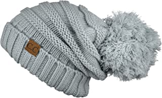 Hatsandscarf CC Exclusives Unisex Oversized Slouchy Beanie with Pom (Natural Gray)