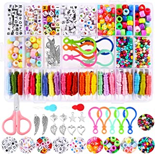 PP OPOUNT Bracelet Making Beads Kit Includes Hand-Make Necklaces Colorful Beads Letter Beads, 24 Multi-Color Embroidery Fl...