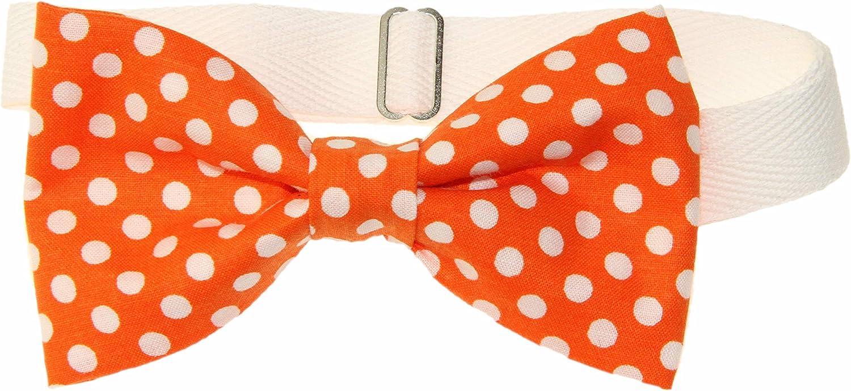 Men's Tangerine Orange With White Dots Pre-Tied Cotton Bow Tie On Twill Strap