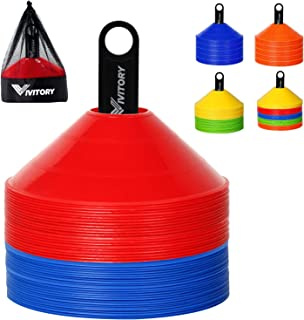 Vivitory Disc-Cones (Set of 50) - Agility Soccer Cones with Carry Bag and Holder for Training, Football, Kids, Sports, Foo...