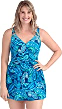PERONA Plus Size Swimsuit for Women, Tummy Control Swimdress One Piece Swimwear with Flared Skirt Bathing Suits