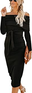 Angashion Womens Sexy Off Shoulder Long Sleeve Bodycon Midi Knit Cocktail Evening Sweater Dress