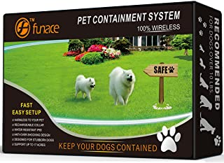 1 Dog Wireless Pet Containment System - Rechargeable and Waterproof Collar - 100% Safe & Easy to Install WiFi Radio Dog Fence - No Wire, No Dig, No Bury - Large Coverage Area up to 17 Acres
