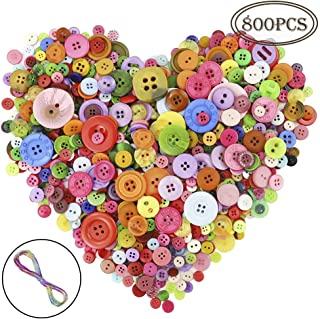 OUTUXED 800pcs Resin Buttons Assorted Buttons Craft for Children's Manual Button Painting and DIY Handmade Ornament