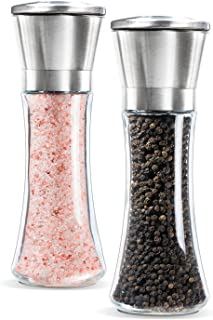 Miuly Salt and Pepper Grinder Mill Set, Stainless Steel, Glass Body with Adjustable Ceramic Coarseness, Set of 2