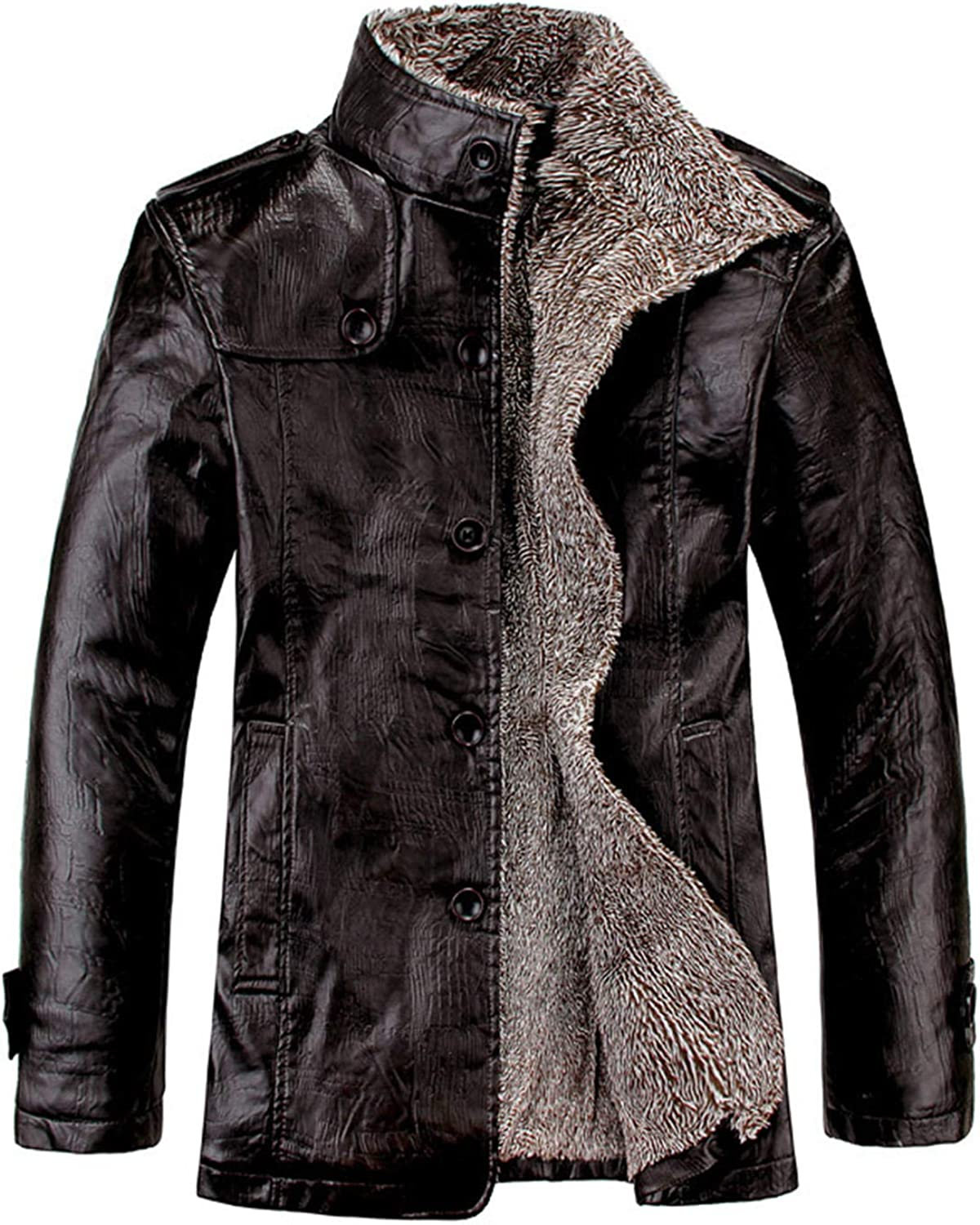 sold out Soluo Men's Stand Baltimore Mall Collar Fleece Faux Jacket Bomber Leather Lined