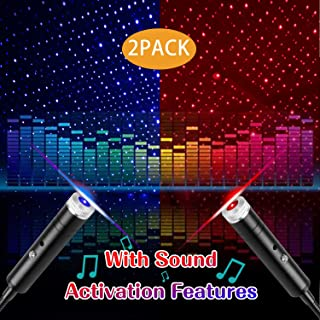 USB Star Light Sound Activated Projector, 2Paks-4 Lighting Effects, Aevdor Auto Roof Romantic Star Lights, USB Night Light for Bedroom, Car, Party, Ceiling and More (1pcs Blue and 1pcs Red)