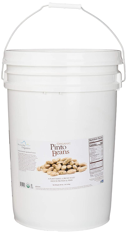 Mountain High Organics and Non-GMO Pinto Beans Emergency Food Storage Bucket, Multi, 640 Oz