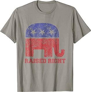 Raised Right! Republican Elephant Vintage Logo T-Shirt