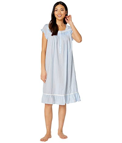 Eileen West Cotton Woven Dobby Stripe Cap Sleeve Waltz Nightgown (Peri) Women