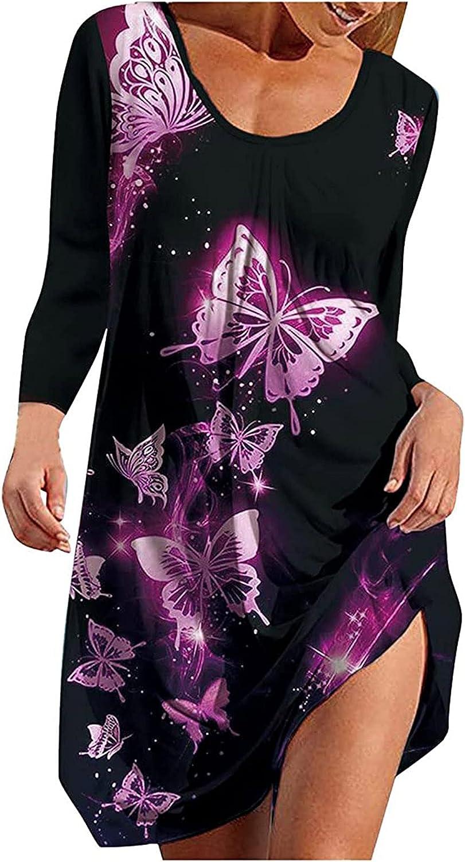 EZ Tuxedo Fall Soft Dress for Women Casual O Neck Long Sleeve Bohemian Dress Floral Print Loose Tank Dress