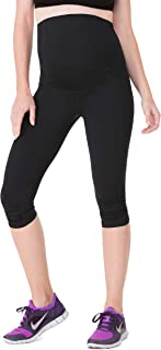 Women's Maternity Activewear Capri Leggings with Crossover Panel