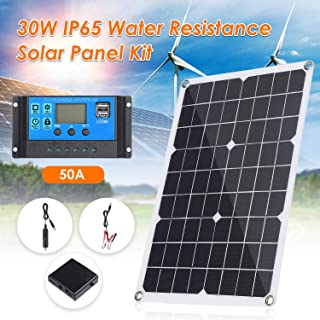 Honelife 30W DC 9V/18V Flexible Solar Panel with 50A LED Display Controller Kit Set with USB/Type C Interface & Car C-harg...