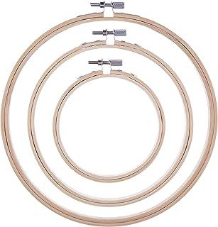 3 Stück Stickerei Hoops Bambus Kreis Kreuz Stitch Hoop Ring Set für Kunsthandwerk Handnähen, 3 Größen