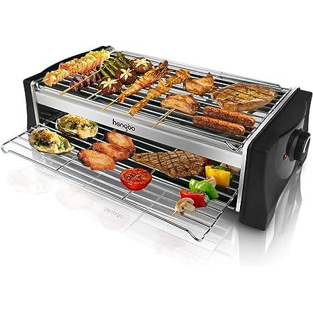 Barbecue Electrique de Table, Grille Barbecue Electrique 2000W Double Étages, Gril en Acier Inoxydable avec Bac Collecteur d'eau pour Appartement Jardin Balcon Terrasse