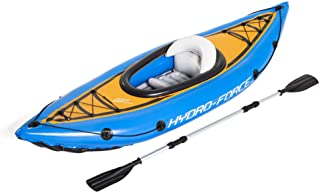 """Bestway Hydro Force Cascade Cove Champion 9' x 32"""" Inflatable Single Person Lake Water Sports Kayak Set with Oar and Hand ..."""
