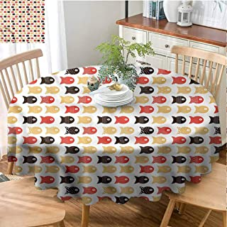Aquarium Wrinkle Resistant Round Tablecloth Kitchen Dinning Tabletop Decoration Fishes with Dots Lines Thicken Round Tablecloth Indoor or Outdoor Parties - 39