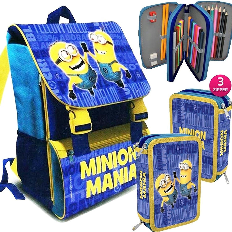 Kit Scuola School Promo Pack Zaino Estensibile + Astuccio 3 Zip Accessoriato MINIONS uomoia Edizione 2016-2017 + OMAGGIO Papermate Kit Evidenziatori
