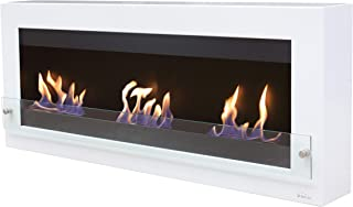 Purline Melibea - Biochimenea de gran formato para instalación en pared con 3 fuegos y cristal decorativo