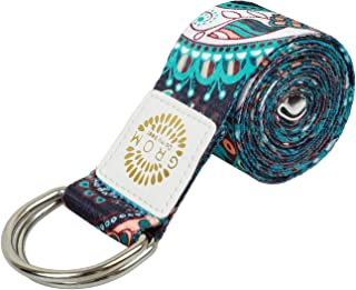 YANSYI Yoga Strap (6ft,  8ft),  Eco-Printed Durable Premium Fabric Exercise Straps w/Adjustable D-Ring Buckle for Stretching,  General Fitness,  Flexibility and Physical Therapy