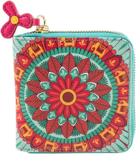 Indian Mandala Wallet Mini Wallet for Women Zipper Coin Purse Printed Design Card Holder Organizer Pocket Wallet All Round Zip Closure Compact Purse Size 4 5 x4 7