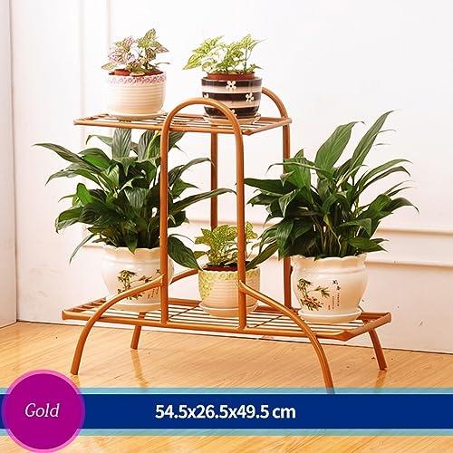 Escalier à fleurs en fer Canapé à fleurs Salon en plein air Balcon Ensemble à fleurs 3 couches (54,5  26,5  49,5 cm) (Couleur   Bronze)
