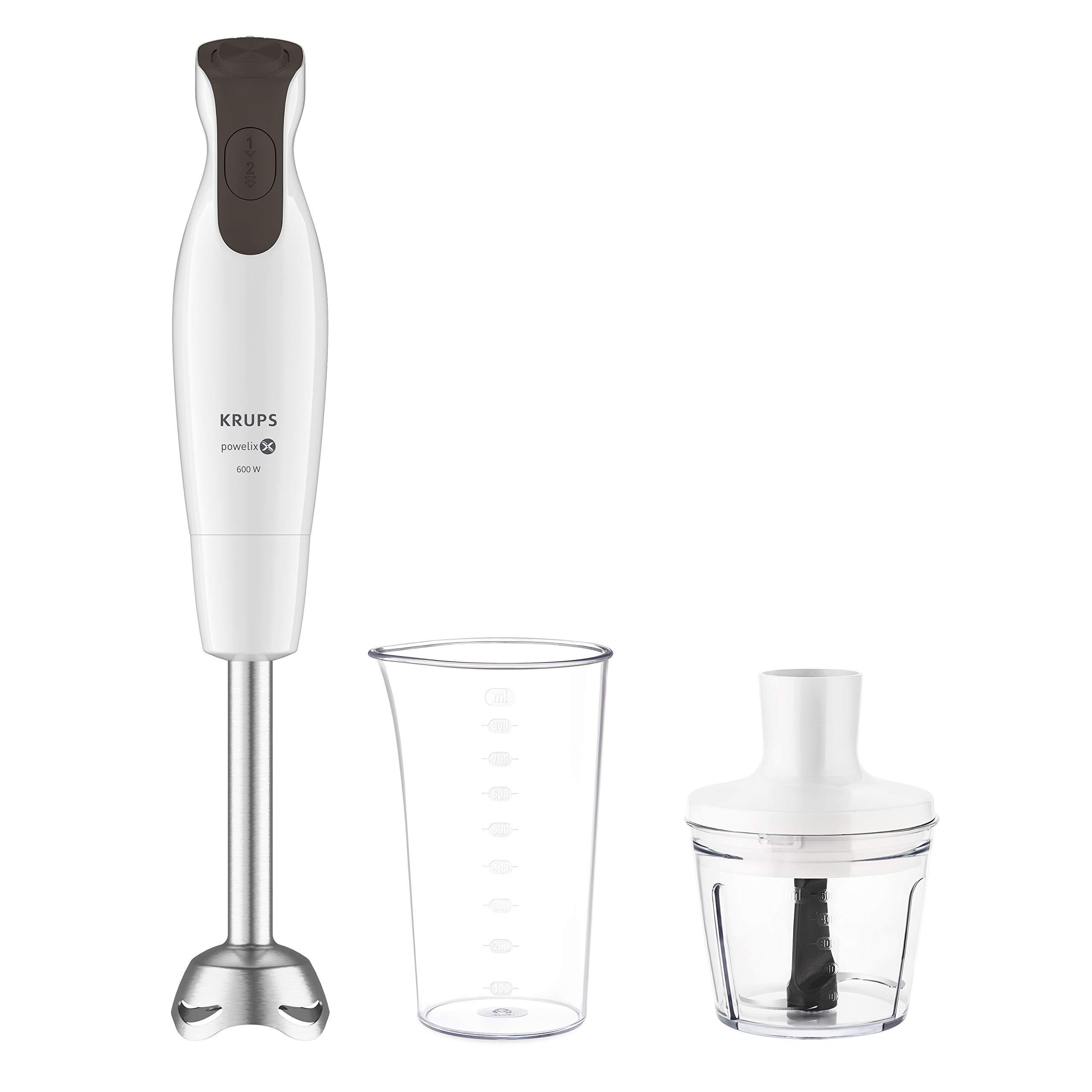 Batidora Krups HZ5521 Perfectmix 6000 (600 W, 2 velocidades, incluye vaso medidor de 800 ml y minipicadora de 500 ml), color blanco/gris oscuro: Amazon.es: Hogar