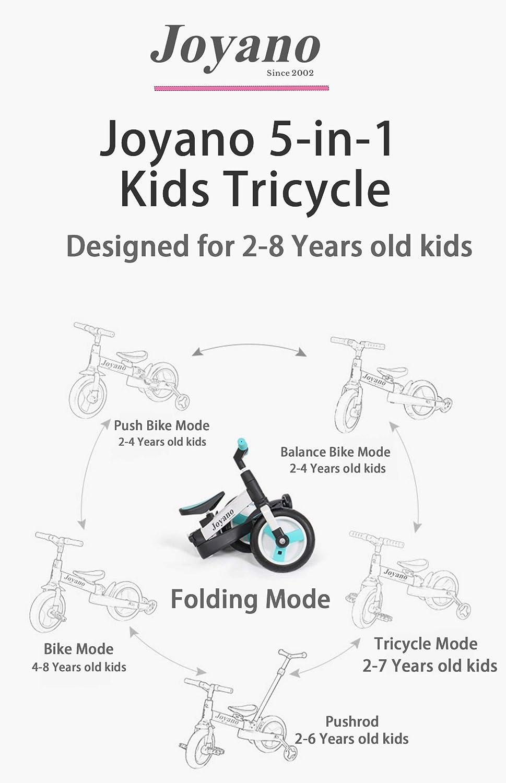 Joyano 5-in-1 Kids Tricycle//Balance Bike//Push Bike with Pushbar for 2-8 Yrs Kids