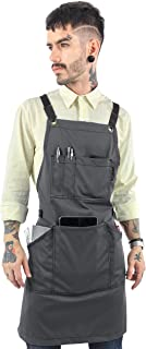 Under NY Sky Essential Armor Gray Apron – Cross-Back with Durable Twill and Leather Reinforcement – Adjustable for Men and Women – Pro Chef, Tattoo Artist, Baker, Barista, Bartender, Server Aprons