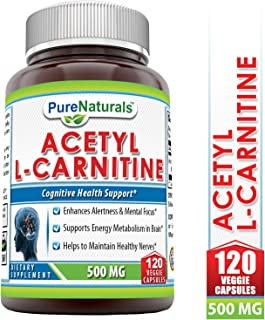 Pure Naturals Acetyl L-Carnitine Hcl Veggie Dietary Supplement - 500mg, 120 Capsulesper Bottle - Promotes Energy Production*, Supporting Brain Heath & Cognitive Function*, Helps to Reduce Nerve Pain*