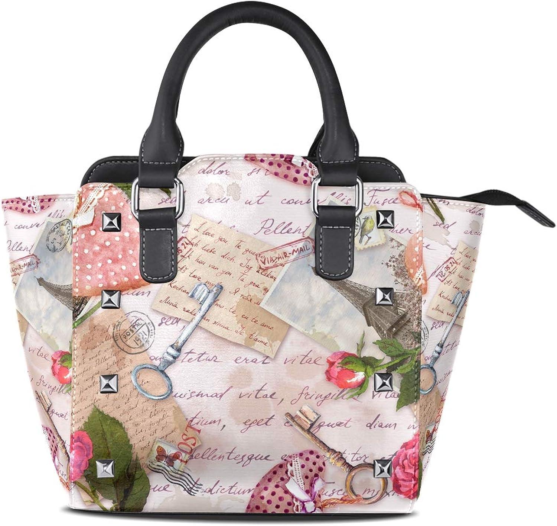 My Little Nest Women's Top Handle Satchel Handbag Vintage Eiffel Tower Hearts pinks Keys Ladies PU Leather Shoulder Bag Crossbody Bag