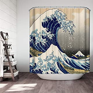 """Ezlif Japanese Painting Ocean Wave Boats Shower Curtain, Chinese Asian Traditional Paint 70"""" x 70"""" Polyester Fabric Waterproof Bathroom Shower Curtains Liner with 12 Rust Proof Hooks"""