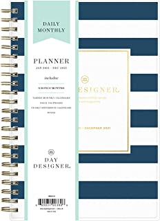 """$37 » Day Designer for Blue Sky 2021 Daily & Monthly Planner, Frosted Flexible Cover, Twin-Wire Binding, 5"""" x 8"""", Navy Stripe (1..."""