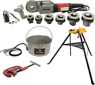Steel Dragon Tools 600 Pro Hand-Held Pipe Threader 460 Chain Vise 418 Oiler and 2A Cutter fits RIDGID12-R Dies