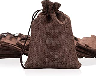50pcs Burlap Bags with Drawstring, Jute Gift Bag Jewelry Pouches Small Linen Sacks Candy Bag for Wedding Party Birthday Baby Shower Christmas DIY Craft Art Project Favors, 3.8 x 5.3 Inch Coffee Brown