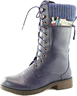 Women's Combat Style up Ankle Bootie Quilted Military Knit Credit Card Knife Money Wallet Pocket Boots