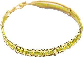 Diamantados of Florida Mano de Orula 18k Gold Plated 2 3/4 Inch - Mano de Orula Green and Yellow 7mm Bangle