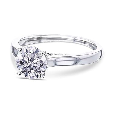 Kobelli 1ct Round Diamond Volutes W-Head Ring 14K Gold