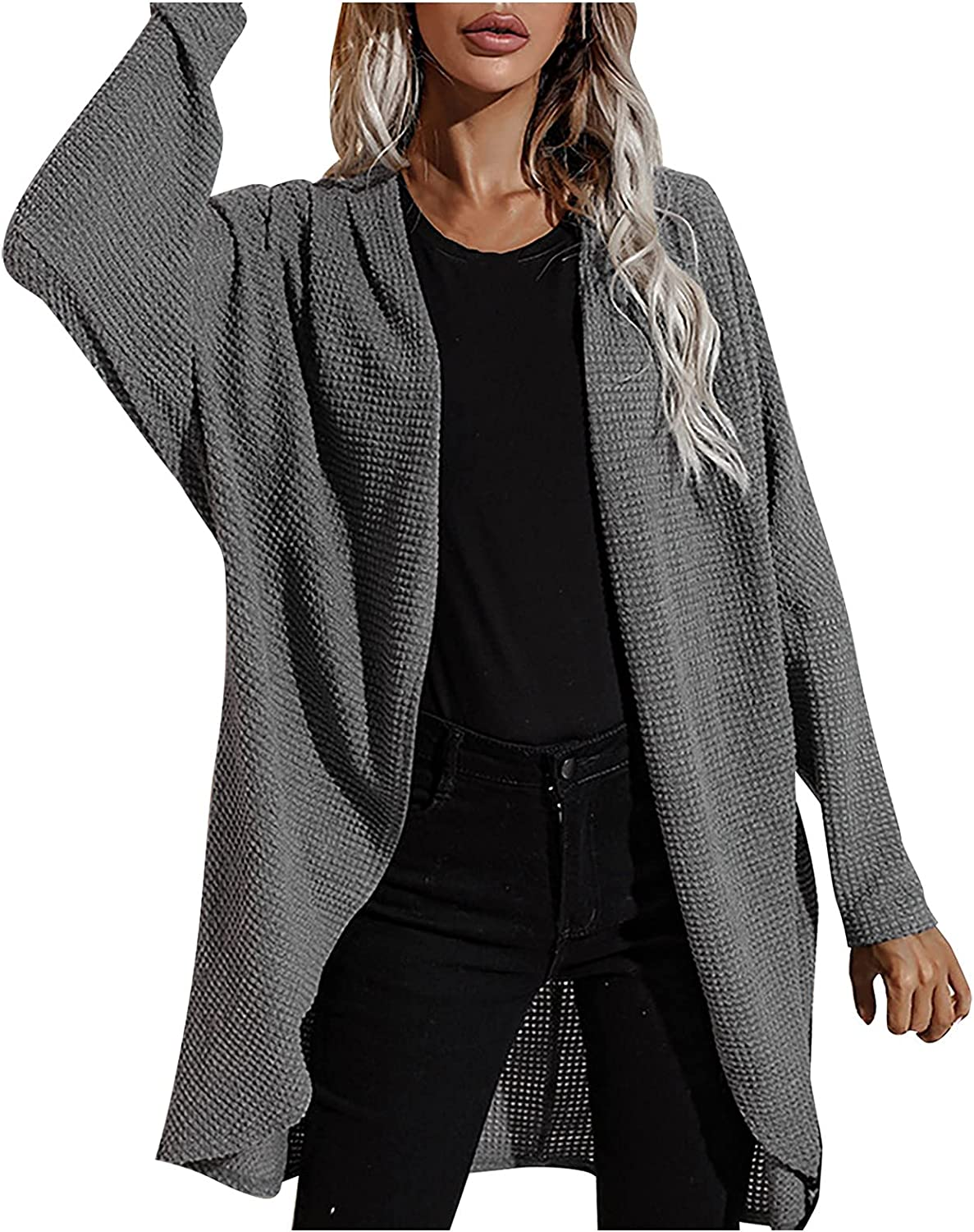 Womens Long Sleeve Open Front Cardigans Chunky Knit Casual Lightweight Sweaters Outwear with Pockets