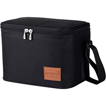 Aosbos Insulated Lunch Box for Men Women Cooler Bag Reusable Lunch Tote Bag Adult Thermal Lunch Boxes Bento Lunch Box Bag 7.5L Black