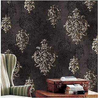 JZ112 Luxury Brown Damask Wallpaper Roll, Stereo Deep Embossed Vinyl Wallpaper Bedroom Living Room Hotel Wall Decoration 20.8