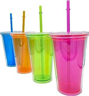 Pack de 4 pcs de Vasos de plástico Reutilizables con Doble Aislamiento con tapa enrroscable anti fugas para Bebidas frias infusiones y Batidos+ Cepillo Limpia Pajita - envase Trasparente sin BPA 500ml