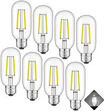 AOMRYOM 2W Dimmable LED Tubular Bulb 4000K Daylight White, 25 Watt Equivalent 250 Lumen, E26 Medium Base, T45 Tubular Clea...