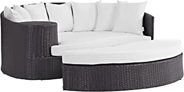 Modway Convene Wicker Rattan Outdoor Patio Poolside Sectional Sofa Daybed with Cushions in Espresso White