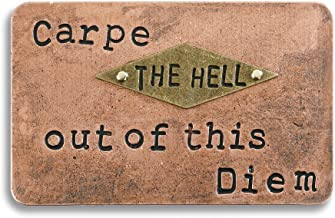 Carpe The Hell Out of This Diem 4 x 2 Bronze Tone Metal Inspire Pocket Card