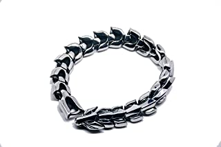 Hefastic Jewelry Stunning Solid Stainless Steel Link Bracelet for Men Polished Wolf Style